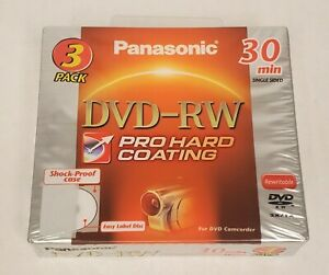 Panasonic LM-RW30U3, DVD-RW 30 MIN 3 Pack, NEW, made in Japan Pro Hard