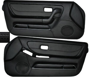 BLACK LEATHER 2X FRONT FULL DOOR CARD SKIN COVERS FITS NISSAN SKYLINE R33 93-98
