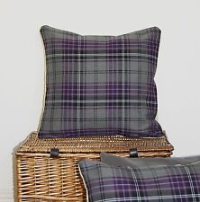 "PURPLE BERRY GREY TARTAN CUSHION COVERS 16"" THISTLE LILAC COUNTRY CHIC HIGHLAND~"
