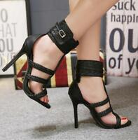 Roman Women Ankle Strap Buckle Sandals Open Toe Stilettos High Heels Shoes Black