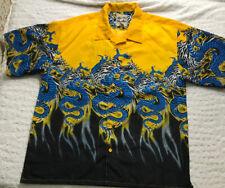 Steve and Barrys Classic Hawaiian Mens Button Shirt Short sleeve Dragon Biker XL