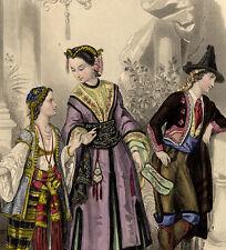 Magasin des demoiselles Travestissement Costume Chinois - Gravure originale XIXe