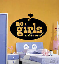 Funny No Boys Allowed Sign Large Wall Art Decal Vinyl Sticker For Girls or Boys