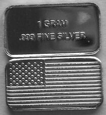 (100) 1 GRAM .999 PURE SILVER AMERICAN FLAG BARS