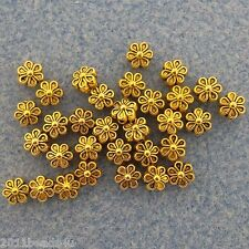 Antique Gold Flower Beads 30 Pieces Alloy Metal Beads 5.9mm  #0285