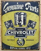 Chevrolet Parts Piston TIN SIGN vtg rustic garage metal decor poster ad DS#1722