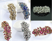 Metal Hair Barrette Clip Silver/Gold Blue Crystal Pink Diamante Rhinestone Clip