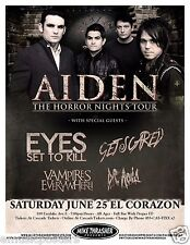 AIDEN/EYES SET TO KILL/GET SCARED 2011 HORROR NIGHTS TOUR SEATTLE CONCERT POSTER
