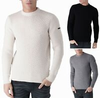 DUCK AND COVER Mens Nylon Cotton Heavy Aran Knit Jumper Crew Neck Sweater Top