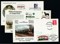 ELEVEN GB Train covers all displaying Railway Letter Stamps or Labels Mixed