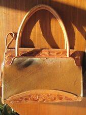 Vintage Tooled Leather & Fur Handbag Purse Mexico