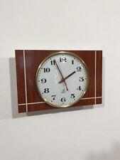Horloge pendule formica  façon bois JAZ   Chocolat   Années  60's 70's   jan15