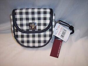 Purse Crossbody,RFID Hip Hugger Black & White Checked, Strap & Fanny Strap Small