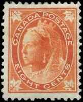 Canada #72 mint F-VF OG HHR 1897 Queen Victoria 8c orange Maple Leaf CV$325.00
