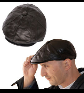 Leather Genuine 100% Sheepskin Men's Buttoned 8 Panel Flat Cap Soft Elasticated