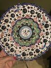 Vintage Persian Mina Kari Hand Painted Enamel Plate Wall Hanging Birds