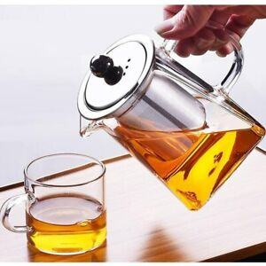 Flower Tea Milk Coffee Pot with Infusers and Lid Tea Pot Glass Sqaure Teapot