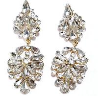 Chandelier Earrings Rhinestone Bridal Prom Pageant Crystal 2.9 inch Clear Drag