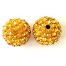 10 Topaz Rhinestone Clay Pave 10mm Beads for Shamballa Bracelets