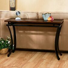 Metal Wood Console Table Sofa Elegant Living Room Furniture Glass Top Curved Leg