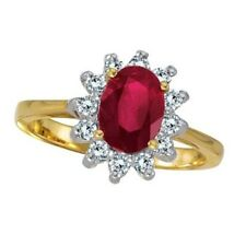 1.50tcw Lady Diana Real Ruby & Diamond Right Hand Ring Fashion 14k Yellow Gold
