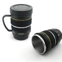 Camera Lens Mug Tea Coffee Cup Mug Stainless Steel Thermos Lined & Lid 180ml