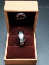Haosg Tungsten Band - 8mm - 7.5 Brushed Silvertone With Black Rim