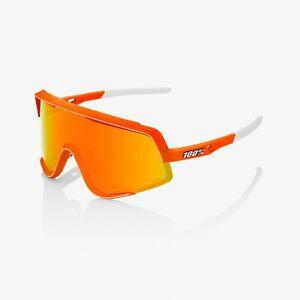 100% GLENDALE Neon Orange Sunglasses, Red Multilayer Mirror + Clear Lens
