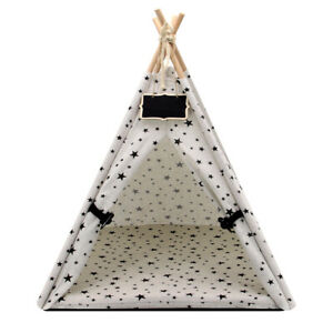 Pet Tent Dog Cat Nest House with Soft Cushion Foldable Teepee Portable Washable