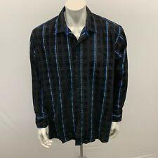 2205 Ink Big and Tall Men's Shirt 2XLB Black Blue stripe textured Cotton Button