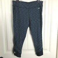 Avia Women's Cropped Yoga Athletic Pants Size L Black Gray Heathered, Leggings
