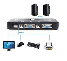 4 Port USB 2.0 KVM VGA/SVGA Switch Box Hub Adapter for PC Keyboard Mouse Monitor