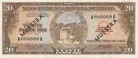 Vintage Dominican Republic Specimen Banknote 20 Pesos Oro Pick 102s Series A