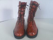 Dingo Womens Mid-Calf Lace Up Boots Cobra Brown Patent Leather Sz 5 1/2 M