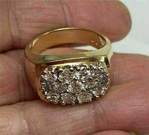 1.55 Ct Round Cluster Diamond Men's Pinky Engagement Ring 14k Yellow Gold Finish