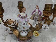 Pair Vintage French Figural Boudoir Lamps Porcelain Flowers Metal Leaves