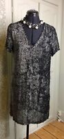 Missguided Ladies Black and Silver dressy Tunic Top Size UK 8 EU 36 US 4