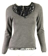 MOSCHINO CHEAP & CHIC Gray Virgin Wool & Leopard Print Silk Sweater 42