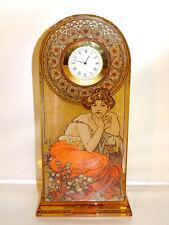 """Goebel Artis Orbis """"Alphonse Mucha Topaz Glas Uhr Standuhr Jugendstil-Optik 22cm"""