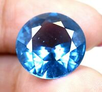 AAA Brazilian 10.90 Ct Natural Blue Topaz Round Loose Gemstone Certified F4944