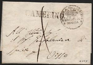 ✔️ ITALY 1824. RARE STAMPLESS DOCUMENT LETTER Prefilatelica COMUNE DI MUCCIA