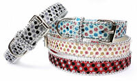 Sparkly Dog Collar Bling PU Leather Personalised Luxury Band Tag Charms Glitter