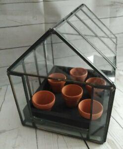 Miniature Greenhouse With 6 Tiny Plant Pots