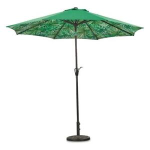 NEW! 9 Foot Patio Umbrella with Palm Tree Pattern Canopy Green