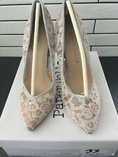 Paper Dolls Lacy Stiletto Shoes. Size UK 7 Blue/Cream, (b34)