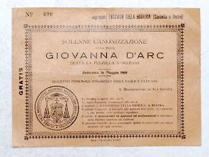 Biglietto ingresso Basilica Vaticana Canonizzazione Giovanna D'Arco - 1920