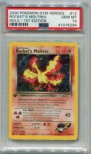 Pokemon Card 1st Edition Rocket's Moltres Gym Heroes Set 12/132, PSA 10 Gem Mint