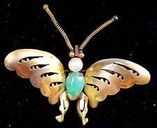 Antique 14k Gold Jade Pearl Butterfly Brooch Pin-Jade Jewelry-Estate Jewelry