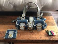 coach legacy two tone blue satchel purse wallet change purse