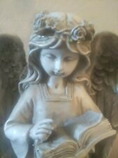Angel W Book Garden Sculpture Out Door Lawn Patio Statue Girl Cherub Figurine .